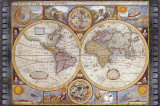 John Speed - Antique Map, New Map of the World, 1626 Obrazy
