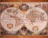 Antikt kart, Geographica, c. 1630, på latin Plakater av Henricus Hondius