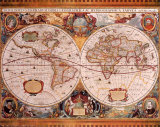 Antique Map, Geographica, c.1630 Poster von Henricus Hondius