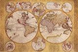 Antique Map, Globe Terrestre, 1690 Plakater af Vincenzo Coronelli