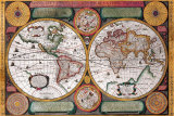 Antique Map, Terre Universelle, 1594 Prints by Petro Plancio