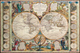 Antique Map, Mappe Monde, 1755 Posters by Jean-baptiste Nolin