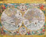 Antieke wereldkaart, Orbis Terrarum, 1636 Schilderij van Jean Boisseau