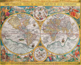 Antique Map, Orbis Terrarum, 1636 Art by Jean Boisseau