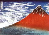 Hokusai - Red Fuji Posters