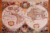 Antieke wereldkaart, Geographica, ca.1630 Print van Henricus Hondius