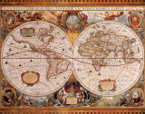 Antique Map, Geographica, c.1630 Posters van Henricus Hondius