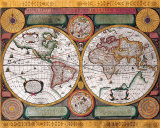 Antique Map, Terre Universelle, 1594 Art by Petro Plancio