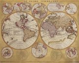 Antique Map, Globe Terrestre, 1690 Posters van Vincenzo Coronelli
