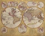 Vincenzo Coronelli - Antique Map, Globe Terrestre, 1690 - Reprodüksiyon