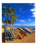 Surfboards on Waikiki Beach Photographic Print by George Oze