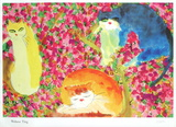 Three Cats in Flowers Collectable Print by Walasse Ting