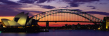 Sydney Harbour Bridge bij zonsondergang, Australië Fotoprint van Panoramic Images,