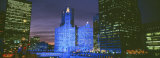 Wrigley Building, Blue Lights, Chicago, Illinois, USA Photographic Print by  Panoramic Images