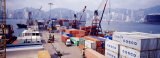 Shipping Containers, Victoria Harbor, Hong Kong, China Photographic Print by  Panoramic Images