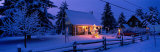 Log House with Christmas Lights, Laurentians, Canada Lámina fotográfica por Panoramic Images,