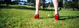 Woman Golfing in High Heels, San Francisco, California, USA Fotografisk trykk av Panoramic Images,