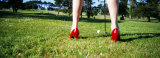 Woman Golfing in High Heels, San Francisco, California, USA Photographic Print by  Panoramic Images