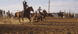 Cowboys Roping a Calf, North Dakota, USA Photographic Print by  Panoramic Images