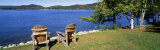 Adirondack Chairs on a Lawn, Fourth Lake, Adirondack Mountains, Adirondack State Park, NY, USA Photographic Print by Panoramic Images 
