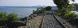 Railroad Track Along a River, Hudson River, Kingston, New York State, USA Photographic Print by Panoramic Images