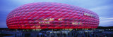 Soccer Stadium Lit Up at Dusk, Allianz Arena, Munich, Germany Photographic Print by  Panoramic Images