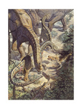 Driven by Hunger, Two Afrovenator Hunters Emerge from the Underbrush Stampa giclée di Mark Hallett
