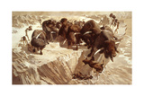 Prehistoric Hunters Stampede Bison over a Cliff Giclee Print by Arthur Lidov