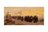 Barefoot Ancient Christian Army Marches around Besieged Jerusalem Giclee Print by Tom Lovell