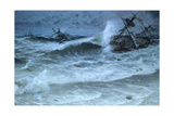 Hurricane Shatters Homebound Spanish Treasure Fleet Near Florida Giclee Print by Tom Lovell