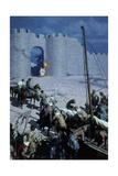 Painting Shows Byzantine Soldiers Sneaking into Walled City of Nicaea Giclee Print by Tom Lovell