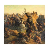 A Painting Depicts Alexander the Great Battling an Indian Army Giclée-tryk af Tom Lovell