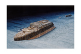 Painting of the Sunken Titanic with the Submersible Alvin at the Bow Giclee Print by Pierre Mion