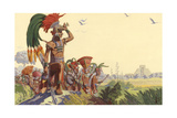 Bronzed Maya Warriors Look Upon a City their Forbears Conquered Giclee Print by H.M. Herget
