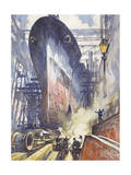 The U.S. Battleship, Alabama, Gets Ready to Launch Giclee Print by Thornton Oakley
