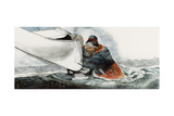 A Man Falls Through Ice on the Noatak River Giclee Print by Jack Unruh