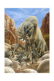 Oviraptor Dinosaur Feeding its Young, Just Like a Mother Bird Giclee Print by John Sibbick
