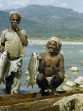 Successful Fishermen Hold their Catch of the Day, Mahseer Fish Photographic Print by Volkmar K. Wentzel