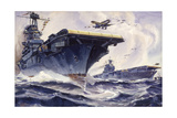 U.S. Aircraft Carriers Wasp and Enterprise Roar into Action Giclee Print by Arthur Beaumont