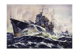 Painting of Cruisers, U.S.S. Astoria and U.S.S. Phoenix Giclee Print by Arthur Beaumont