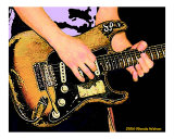 Stevie Ray and his Fender Stratocaster Photographic Print by Rhonda Watson