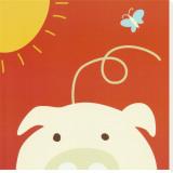 Cochon, Peek-a-Boo IV Reproduction transférée sur toile par Yuko Lau