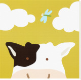 Peek-a-Boo III, Cow Stretched Canvas Print by Yuko Lau