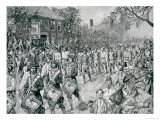The Continental Army Marching Down the Old Bowery, New York Giclee Print by Howard Pyle