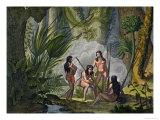 Camacani Tribesmen in Woodland in the Amazon Jungle, Brazil Giclee Print by D.k. Bonatti