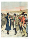 Napoleon Bonaparte Presenting the Female Officer, Marie Schellinck with a Medal on the Battlefield Giclee Print by Lionel Noel Royer