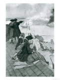 "Watching the Fight at Bunker Hill, Illustration from ""Colonies and Nation"" by Woodrow Wilson Giclee Print by Howard Pyle"