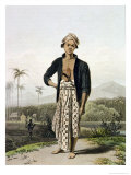 "A Javan of the Lower Class, Plate 2 from Vol. I of ""The History of Java"" by Thomas Stamford Raffles Giclee Print by Thomas & William Daniel"