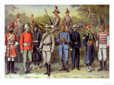 "English Colonial Armies in Their Respective Uniforms 21 June 1883, from ""Le Petit Journal"", 1899 Giclee Print by P.h.g.v. Michel"