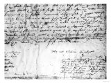 Signature of William Shakespeare, 1616 Giclee Print